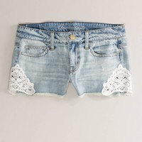 AEO Women's Crochet Denim Shortie (Faded Light)