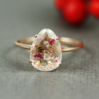 Pink Gold White Quartz Ruby &amp; White CZ Oval Ring by tooriginal
