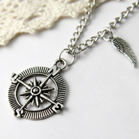 Personalized vintage style compass pattern Necklace by Sevinoma