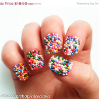 ON SALE Candy Sprinkles Nails, Bubblegum Gumball Artificial Short 3D Fingernails