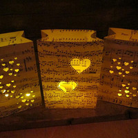 Valentines Day 5 Small Custom Made Luminary Bags, Rehearsal Dinner, Valentines Decor, Surprise Your Valentine, Heart Theme, Paper Lanterns