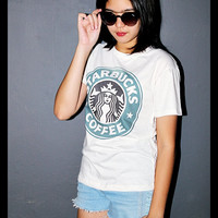 Starbucks Shirt Coffee Shop Indie Off White Women T-Shirt Size L