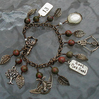The Hunger Games Inspired Charm Bracelet- Earth Tone Beads and Arrow Clasp - YOU CHOOSE INSCRIPTION -