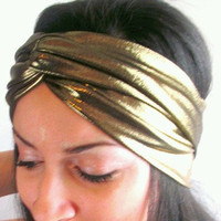 Gold Turban spandex head band