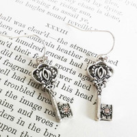 Silver Key Earrings by EridaneasBoutique on Etsy