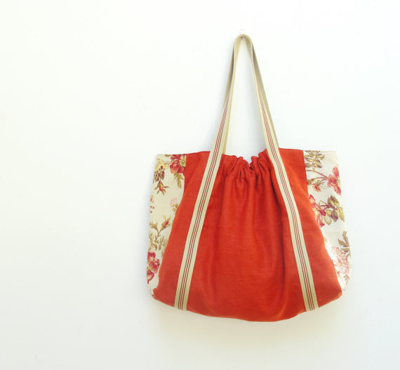 Shaqraa  Large Tote  Burnt Orange Linen Vintage Floral by StarBags