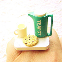 Cute Tea Ring Teapot Cup Cookie Miniature Food by SouZouCreations