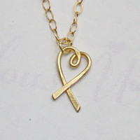 Heart Shape Ribbon Pendant Necklace  14K Gold by FabulousWire