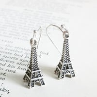 Silver Eiffel Tower Earrings by EridaneasBoutique on Etsy