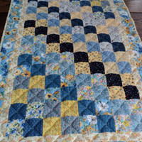 """Patchwork Quilted Table Runner / Table Topper / Centerpiece Mat - Shades of Blue and Yellow - 20"""" wide x 34"""" long"""