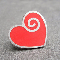 Red Resin Heart and Spiral Sterling Silver Ring- US 7.5