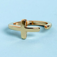 Joined at the Tip Gold Cross Knuckle Ring