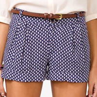 Geo Print Shorts w/ Skinny Belt