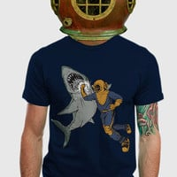 Shark Shirt, shark tee, shark t-shirt, Diver punching Shark, Available S M L XL 2XL