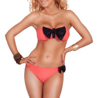 Strapless Two Piece Twist Bandeau Bow Accent Bikini Swimwear Swimsuit S M L