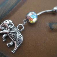 Elephant Belly Button Ring Choose Your Color by Azeetadesigns