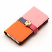 Amazon.com: PDN CASE iPhone5 Plum Blossom Button PU Leather Wallet Case-Orange/Pink: Cell Phones &amp; Accessories