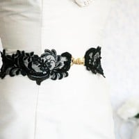 BOGO SALE -bridal Wide Black Lace Sash