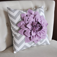 Lilac Dahlia on Gray and White Zigzag Pillow -Decorative Chevron Pillow-