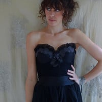 RESERVED Violetta Bustier Gown... Size 36B or 34C... Black Wedding Dress Prom Ball Party Whimsical Eco Friendly Free People Style