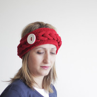 Womens knit headband, Red winter accessories, red cowl neckwarmer, cable pattern