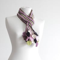 Women Crochet Scarf Accessories, Crochet belt, Floral scarf in variegated colors, Lariat scarf, Handmade Neck accessory