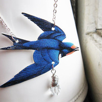 Blue Bird Swallow Necklace Jewelry Spring Trend with Swarovski Crystal