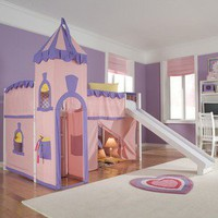 Girls Fairytale Princess Castle Tent Wooden Loft Bed w/ Slide Ladder Bedroom Set