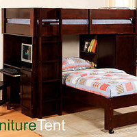 Dark Walnut or Oak Junior Twin Loft Bunk Bed Set with Desk Chair Bookshelf