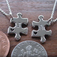 Miniature best friend puzzle pendant necklaces