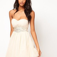 Little Mistress Embellished Waist Sweetheart Bandeau Skater at asos.com