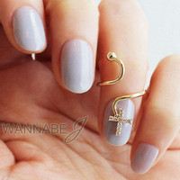 [wannabeJ] Cross Cubic Nail Art Ring Knuckle midi Ring Adjustable [NR-038]