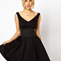ASOS Skater Dress With Off Shoulder And Deep Waistband