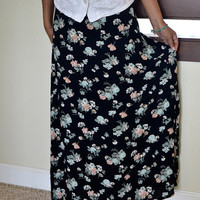 mint and black maxi skirt by callmecrasey on Etsy