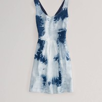 AE Tie-Dyed Denim Corset Dress | American Eagle Outfitters