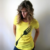 Giant Fork Womens Tshirt Sunshine Yellow in Small to by Xenotees