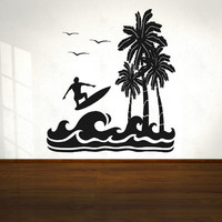 Vinyl Wall Decal Sticker Surfing Paradise OSAA269s
