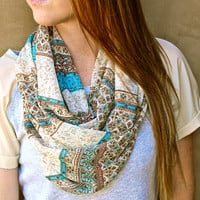 Infinity Scarf, Circle Scarf, Eternity Scarf, Aqua, Brown, Cream