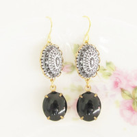 Black and White Mosaic Dangle Jewel Earrings - Vintage Black and White Etched Mosaic Scalloped Black Jewel Statement Earrings - Bohemian