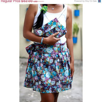 Valentine Sale Matching Set skirt and clutch deep purple and blue floral