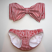 Red and White Stripe Bow Bandeau Set by amourouse on Etsy