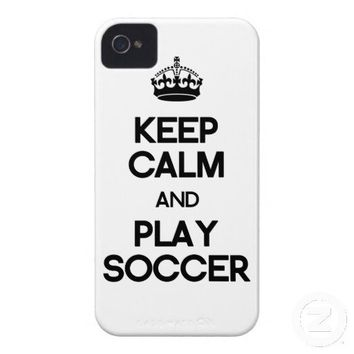 Keep Calm And Play Soccer iPhone 4 Case-Mate Cases from Zazzle.com