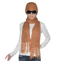 Amazon.com: 2 PIECE SET: Womens Hand Made Super Soft Knitted Thermal Winter Scarf and Hat Set - Dark Orange: Clothing