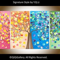 "Large Abstract Landscape Handmade Painting Heavy Texture Impasto Tree Wall Decor ""365 Days of Happiness"" by qiqigallery"