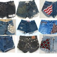 Vintage Custom 1 High Waisted spike Studded Flag Festival Denim Cut off Shorts