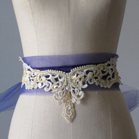 lace sash belt  for bride bridesmaid flower by AtelierSignature