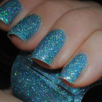 NEW Kleancolor *HOLO BLUE* Cute Rainblow Glitter Nail Polish Art Varnish Color