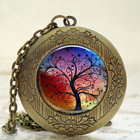 Locket - Antique Bronze Photo Art Locket - Rainbow Tree of Life Locket with Necklace and Matching Gift Tin