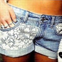 denim lace shorts by FitForYou on Etsy