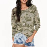 Kirra Camo Studded Crew Neck Fleece at PacSun.com